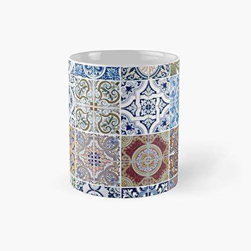 Juego de 48 tazas clásicas de cerámica con diseño de azulejos | Mejor regalo divertido tazas de café 11 oz