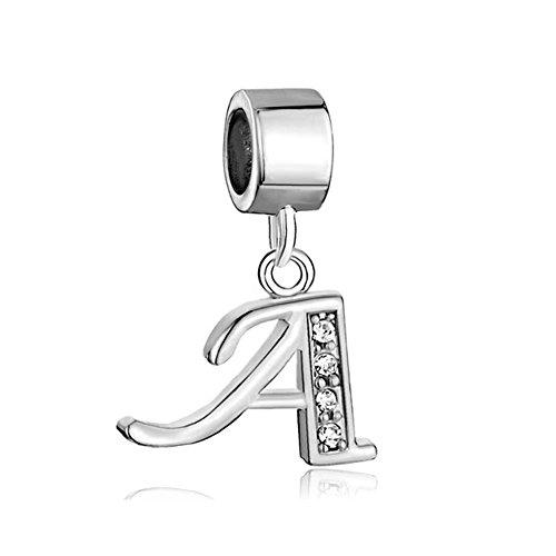 Alphabet Charms Letters Initial A-Z Dangle Clear Birthstone Fit Pandora Chamilia Charms Bracelets (A)