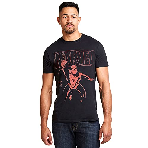 Marvel Spiderman Logo Swing Camiseta, Negro (Black Blk), Large (Talla del Fabricante: Large) para Homb