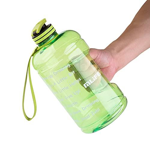 Softifund Botella de agua gallon sin fugas BPA botella de agua, pajita desmontable proporciona una bebida a prueba de fugas para ejercicios de camping y actividades al aire libre.