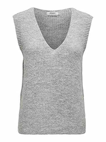 Only ONLCORA Vest EX KNT Chalecos suteres, Gris Claro, S para Mujer