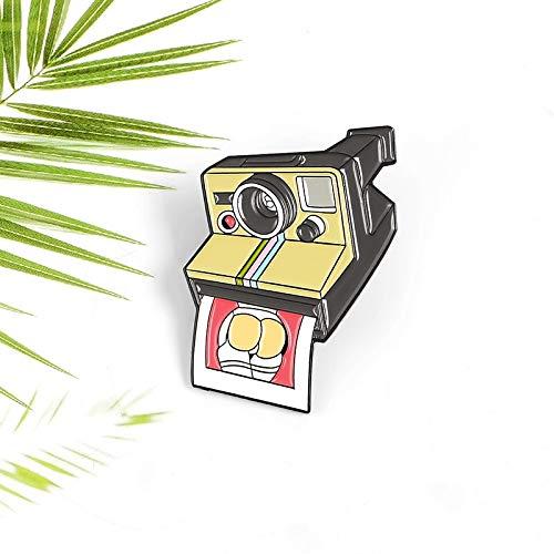 QISKAII Cámara de Dibujos Animados Esmalte Pin proyección impresión Foto Ojos Lente Papel Foto Mochila Insignia joyería Solapa Broche Regalo