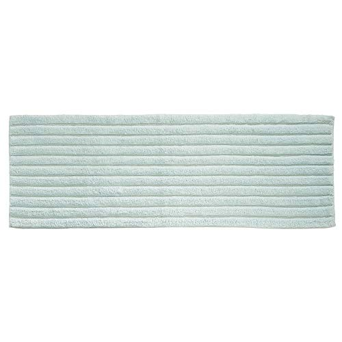 mDesign Soft 100% Cotton Luxury Hotel-Style Rectangular Spa Mat Rug, Plush Water Absorbent, Ribbed Design - for Bathroom Vanity, Bathtub/Shower, Machine Washable - Long Runner, 60' x 21' - Water Blue