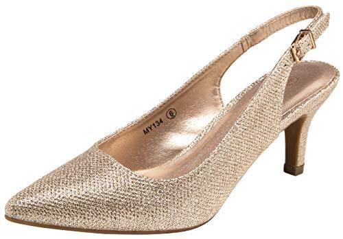 VOSTEY Women Low Heel Dress Shoes Kitten Heel Slingback Pumps(8.5,Kitten Heels-Gold Glitter/134A)
