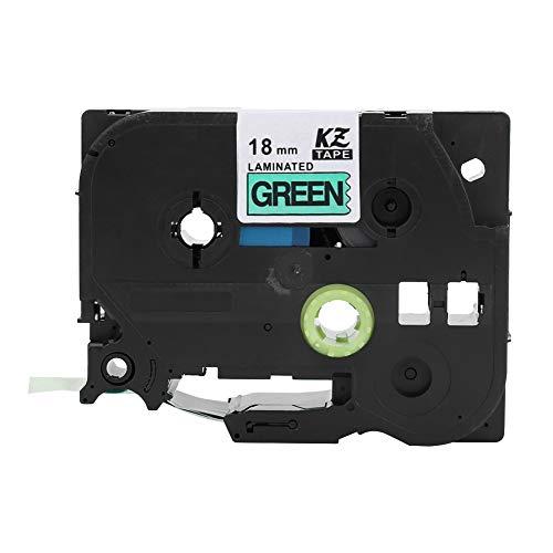 FOTABPYTI Etiqueta compatível, fita de etiqueta branca compatível com rotuladores, casa ao ar livre (18 mm preto sobre fundo verde)
