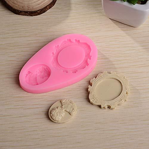Stampo in silicone per torta con cornice a specchio da principessa, stampo per cioccolatini fai da te per cornice principessa, 1 pezzo
