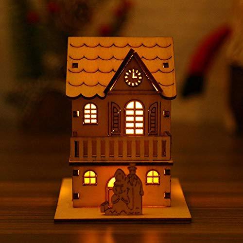Hete-supply Holzhaus mit Nachtlicht, Weihnachtsbaum hängen Anhänger, energiesparende umweltfreundliche Nachtlicht, Kinder Freunde