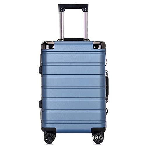 CNBPLS Aluminum Frame Trolley Case Luggage Case Universal Wheel Silent Brake Wheel Suitcase Boarding Password Box Korean Style,Blue,20inch