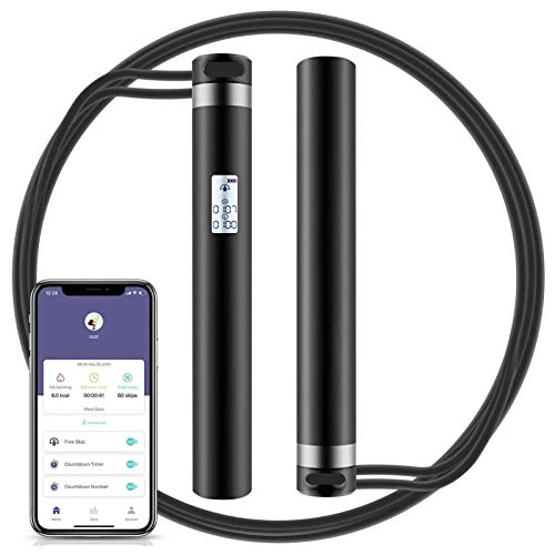 Jump Rope, Smart Jump Rope with APP Data Analysis, USB Rechargeable Skipping Rope with HD LED Display for Fitness, Crossfit, Gym, Burn Calorie - Adjustable Jumping Rope for Men, Women, Kids, Girls