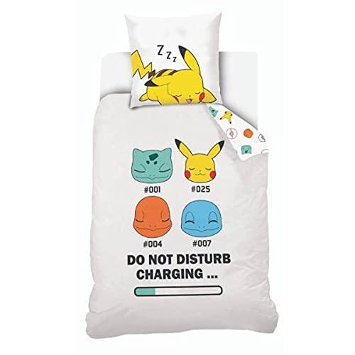Housse de Couette Pokémon Starter, Blanc, Enfant, 140x200cm, 1 Personne, 100% Coton, Edition Limitee