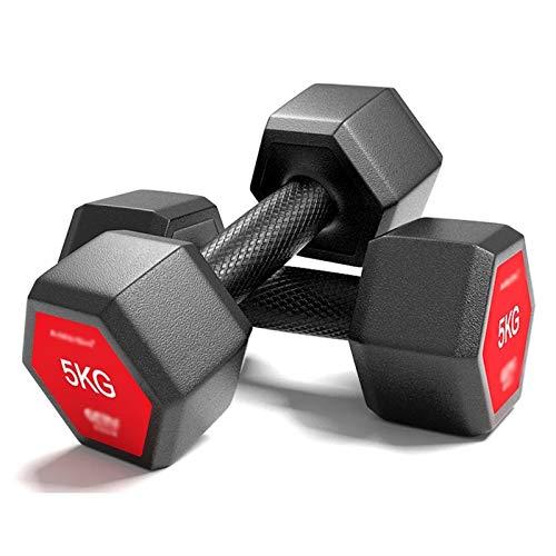 Hexágono Pesas, Plano de Empuje Soporte del Brazo de Entrenamiento de la Fuerza, con Recubrimiento de Goma Dos Pesas, Cubierta Gimnasio Fitness Equipment (Color : Black, Size : 6kg*2(26.4lb))