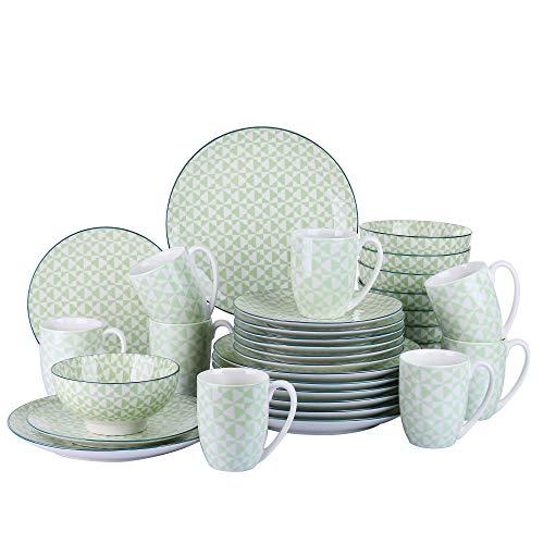 vancasso Midori Juego de Vajillas 32 Piezas Tazas de Desayuno, Cuencos, Platos para 8 Personas Vajillas Modernas Verde