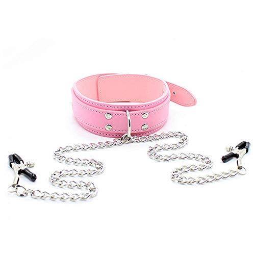 Pink Chest Clip Halsbänder Choker Leder Mit Kette Damen B`D`S-M Boňdàgé Props