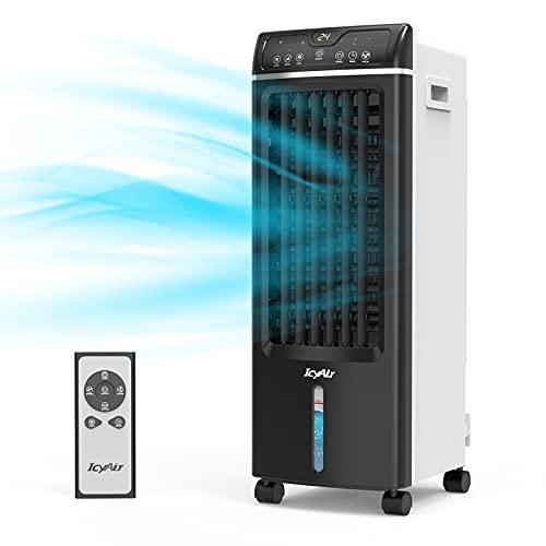 Mobile Klimagerät, Luftkühler mit Luftreinigung, 4 in 1 Ventilator mit Luftbefeuchtung und Fernbedienung, 550m³/ h, 65 Watt, Oszillation, 1-7h Timer für kühle Sommertage