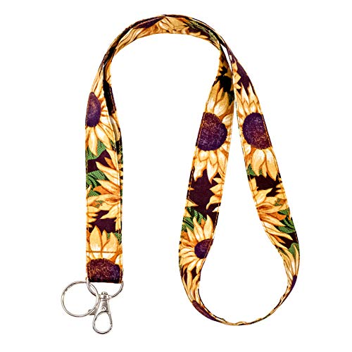 LNKRE JEWELRY Sunflower Keychain Lanyards Pretty Floral Print Neck Strap Cotton Fabric Lanyard,ID Badge Holder,Key Fob for Wallet,Cell Phone,Teacher,Women,Girls