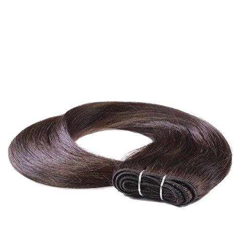 hair2heart 100g Echthaar-Tresse - glatt - 70 cm - #2 dunkelbraun