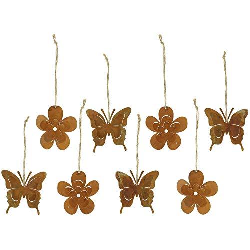 SIDCO Hänger Rost 8 x Frühling Dekohänger Hängedeko Deko Metall Schmetterlinge Blumen