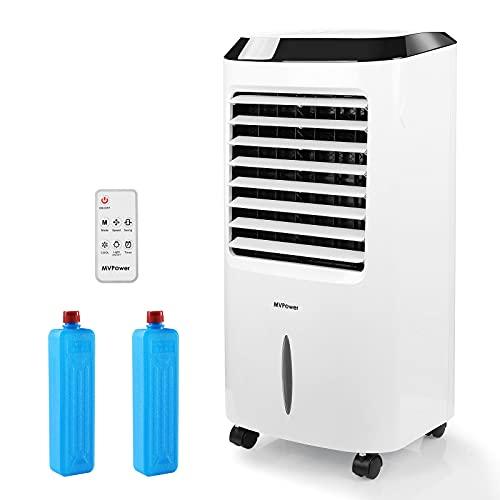 MVPower Aire Acondicionado Portátil, Enfriador de Aire Portátil, Mando a Distancia y 2 Acumuladores de Frío, 3 Modos, 65 W, 3 en 1 Purificador, Humificador, Bajo Consumo, 10L