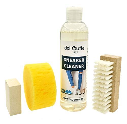 del Gutte® Sneaker Cleaner Set avec une bouteille de Sneaker Cleaner, une brosse, un caoutchouc de nettoyage et une éponge - Fabriqué en Allemagne.