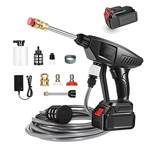 Akku Hochdruckreiniger 25V mit Schaumgenerator-Düse Wasserpumpe Akku-Waschpistole Mit Batterie und Ladegerät, Auto Garden Sprayer Handheld Wireless Hochdruckreiniger