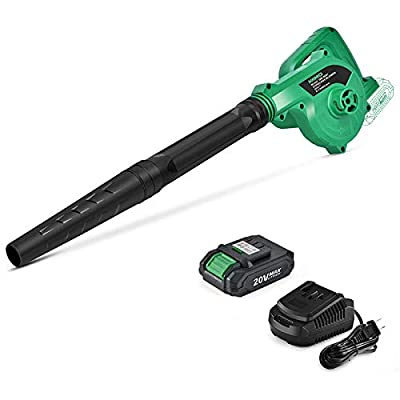 K I M O. 20V Cordless Leaf Blower Double Length Blow Tube 2-in-1 Blower & Vacuum Cleaner Variable Speed 20000 RPM Max Battery Powered Handheld Lightweight Clean Machince