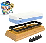Whetstone Knife Sharpening Stone: 2-Sided Knife Sharpener Set, 1000/6000 Grits, with Non-Slip...