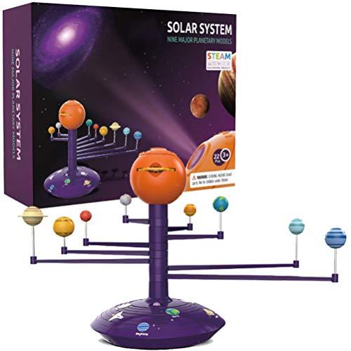 HEITIGN Sonnensystem Planetarium Modell Kit, DIY Science Discovery Kit 3D Sonnensystem Astronomisches Modell Sicherheit Kindertechnologie Spielzeug, acht Planeten Lerninstrument Modell