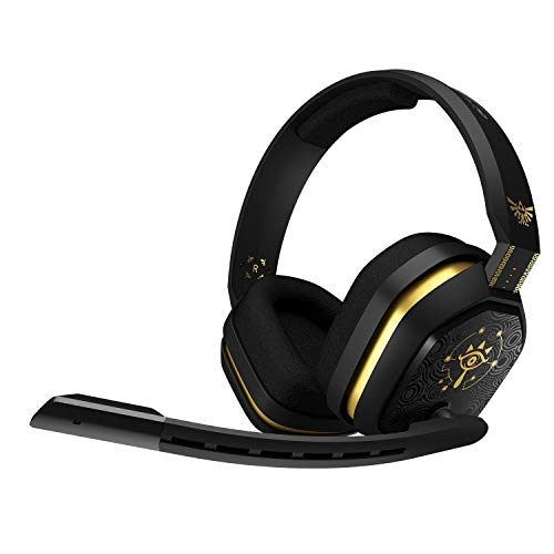 ASTRO Gaming A10 Cuffie Gaming Cablate con Microfono, Zelda Edition, Resistenti e Leggere, Dolby ATMOS, Jack 3.5 mm, per Xbox Series X|S, Xbox One, PS5, PS4, Switch, PC, Mac, Smartphone, Nero/Oro