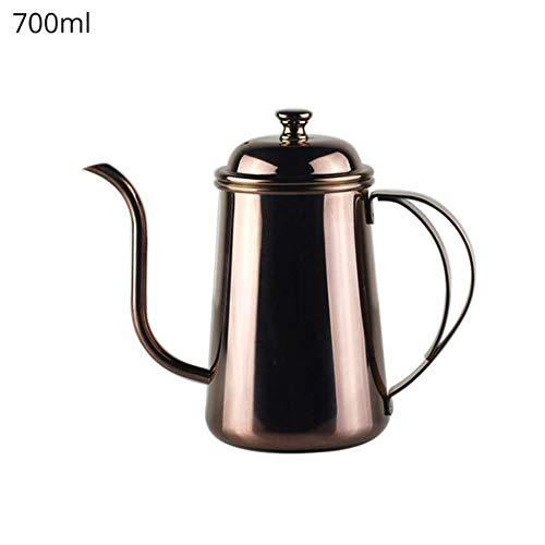 Giet over koffiepotten Koffiezetapparaat Karaffen Handdruppel Koffie Gietpot - Roestvrijstalen zwanenhals theepot Lange monduitloop Ketel, 700ml, Goud