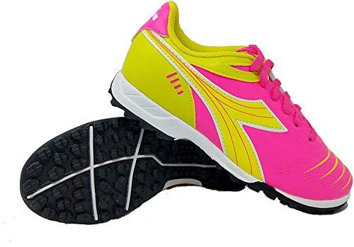 Diadora Kids Cattura TF JR Turf Soccer Shoe (10.5 Little Kid, Neon Pink/Neon Yellow)