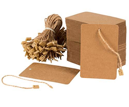 Juvale papieren etiketten met touwen en beha's, mini-tags, etiketten om te schrijven, bruiloften, verjaardagen, verpakking met 200 bruin