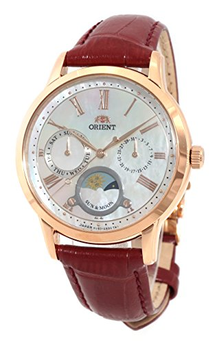ORIENT 'Sun & Moon' Pearl Dial Roman Indices Rose Gold Case Red Leather Lady Quartz KA0001A