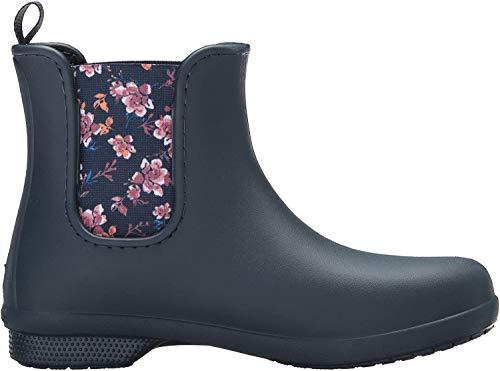 Crocs Freesail Chelsea Boot Women, Damen Gummistiefel, Blau (Navy/floral), 36/37 EU