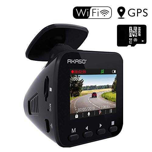 Dash Cam WiFi Car Camera - AKASO V1 Dash Camera for Cars 1296P with Phone APP GPS 16GB Memory Card...