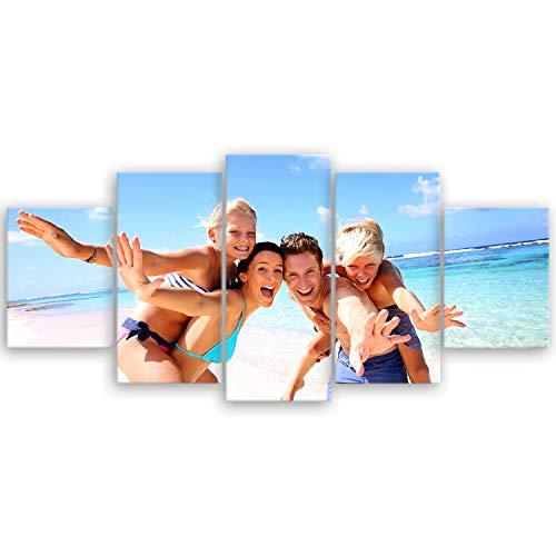 ge Bildet hochwertiges Leinwandbild XXL - Ihr eigenes Foto - Ihr Wunsch-Motiv auf Künstler-Leinwand - 150 x 70 cm mehrteilig (5 teilig) 2175III