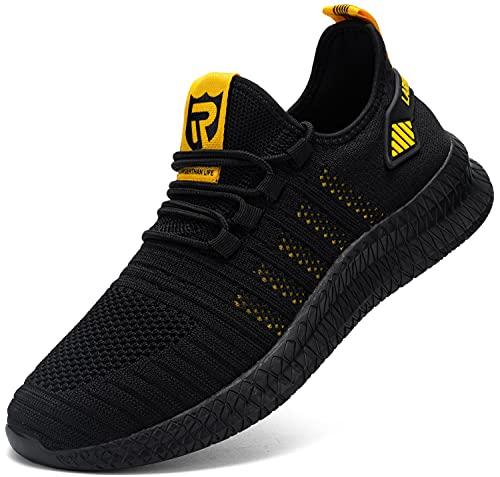 LARNMERN PLUS Sneakers Uomo Sportive Sneakers Running Moda Scarpe Giallo 43