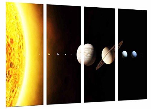 MULTI Houten Afdrukken Art Print Box Ingelijste Beeld Wandopknoping - Systeem Zonne-energie, Planeten op de Ruimte, (Totale Grootte: 51,6