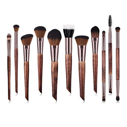 MEIYY Pinceau De Maquillage 11 Pcs Poignée En Bois Synthétique Oblique Synthétique Top Buffer Brosse Pour Le Visage Fondation Liquide Brosse Fessionnel