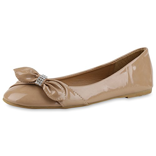 SCARPE VITA Damen Ballerina Schuhe Klassische Ballerinas Lack-Optik Übergrößen 164373 Khaki Lack 42