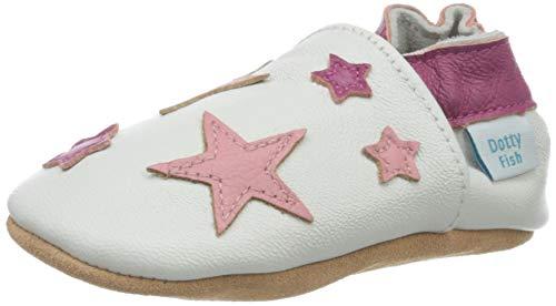 Dotty Fish Chaussures en Cuir Souple pour bébé et Tout-Petit Semelles antidérapantes en Daim. Blanc avec des étoiles Roses. 18-24 Mois (23 EU)