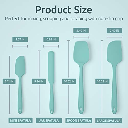 U-Taste Silicone Spatula Set with 600 Degrees Fahrenheit Heat Resistant (Teal/Aqua Sky)