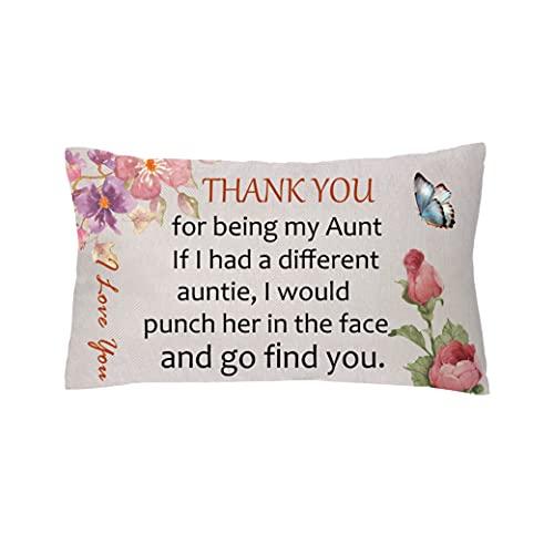 Aligarian Aunt Federa per cuscino, 30,5 x 50,8 cm, regalo di compleanno per zia, regalo di ringraziamento, per la zia, per il divano, decorazione natalizia del Ringraziamento (tipo1)