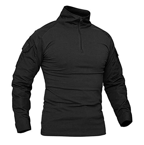 KEFITEVD Herren Militär Shirt Männer Eng Langarmshirt Herbst Sweatshirt Jagdhemd Camouflage Oberteil Tactical Shirt mit Klettfläche Paintball Shirt Frühling Schwarz L (Etikett: 2XL)