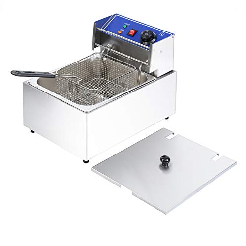Ridgeyard Commercial Deep Fryers with Basket and Temperature Control, Electric Stainless Steel Countertop Deep Fryer for Home Restaurant French Fries Fish Turkey