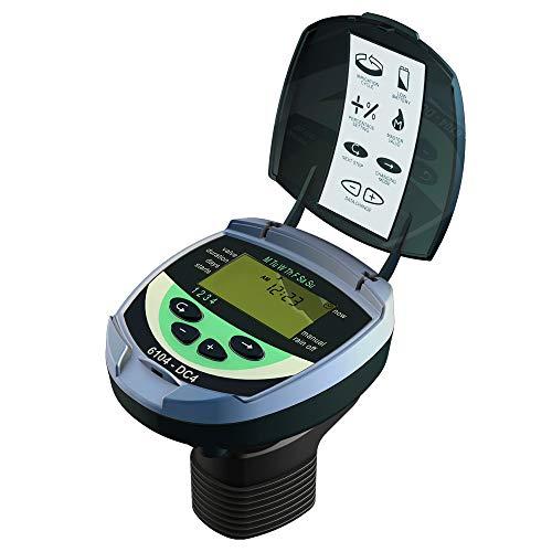 Galcon GAJ4S0002P0 61042 Sistema de aspersor de zona CC programable a pilas, controlador inteligente digital de riego para césped y jardín (4 válvulas + maestro) temporizador de grifo de manguera