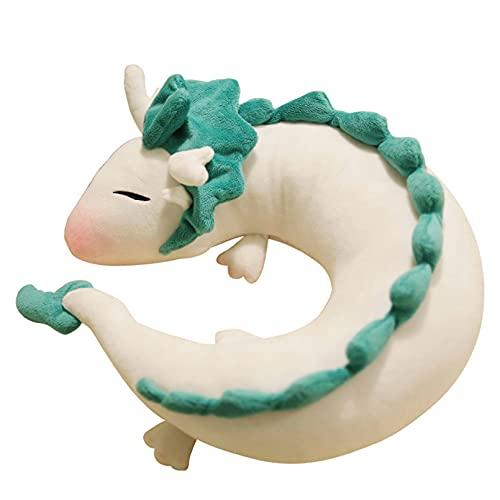 HXHAY Dragon Plush Doll Toy Pillow - Anime Cute White Dragon Neck Almohada en Forma de U Lovely Dragon Stuffed Toy Navidad Regalo de cumpleaños Decoración del hogar