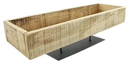 Deko-Board aus recyceltem Holz, rustikal, mit Fuß aus Metall, schwarz, Kerzenboard, Kerzentablett, Dekoschale