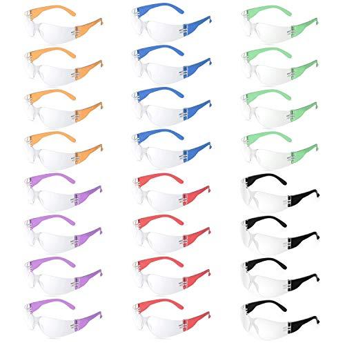 24 occhiali protettivi per lavoro, laboratorio e scienza – occhiali protettivi balistici con lenti trasparenti con le braccia in 6 colori diversi – ideali per bambini feste di guerra nerf