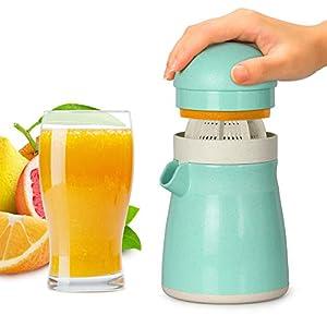 Exprimidor de limón, Exprimidor de Naranja, Exprimidor de Lima, Funria 2-en-1 Exprimidor Manual sin BPA para Cítrico de Naranja y Lima con Taza Para Servir Hecho con Paja de Trigo Biodegradable