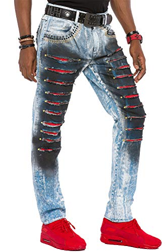 Cipo & Baxx Herren Jeans Hose Slim Fit Ripped Patched Jeans Rockige Nieten Denim Destroyed Hose W34 L34 Blau